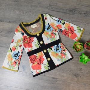 LIA MOLLY ~ X-Small Floral Cardigan Sweater *RARE*
